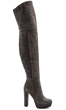 Halle Platform Over the Knee Boot en Charcoal