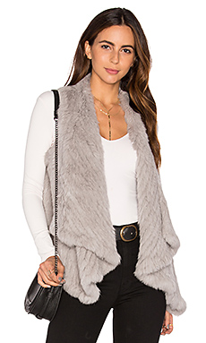 Draped Rabbit Fur Vest in Light Grey