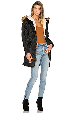 Elyse Faux Fur Parka in Black
