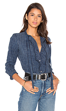 Olivia Button Up en Indigo Check