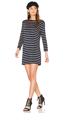 Mala Dress in Navy & Camel Stripe