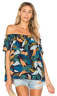 Rosemary Top en Navy Leaf Print
