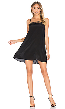 Silk Dress with Lace Trim en Noir