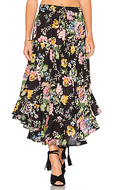 Delilah Frilled Midi Skirt en Delilah Bloom Black