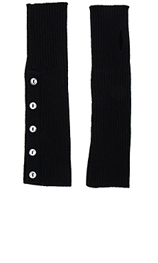 Buttoned Rib Arm Warmers en Noir
