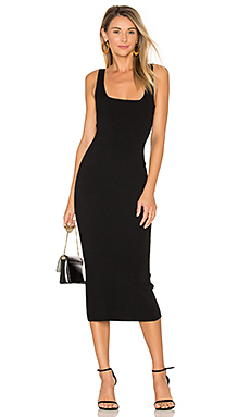 Midi Square Neck Dress en Noir