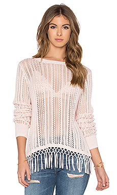 Fringe Crew Neck Sweater in Baby Pink