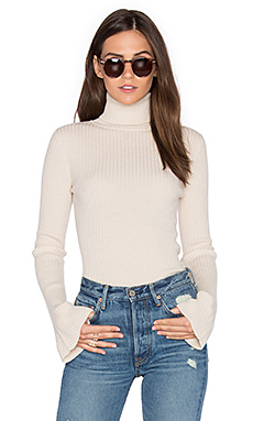 x REVOLVE Ribbed Turtleneck Bell Sleeve Sweater em Creme