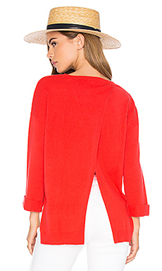 High Low Open Back Sweater in Lava