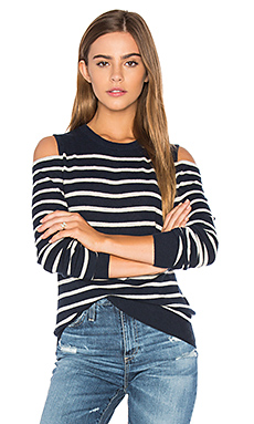 Cold Shoulder Stripe Sweater en Marine & Chanvre