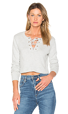 Lace Up Crop Sweater en Gris Chiné
