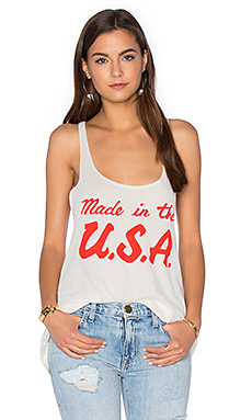 Made In USA Racer Tank in White & Red