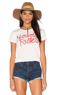 Howdy Folks Womens Tee in White & Red