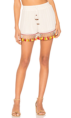 Tassel Trim Shorts en Ivory & Rust