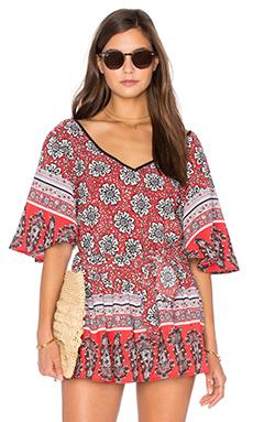 Short Sleeve V Neck Blouse in Red, White, & Black