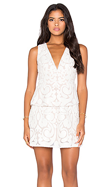 Plunge Neck Mini Dress in Cream