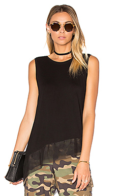 Sheer Hem Tank in Black