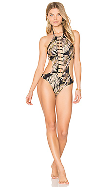 Basic Skimpy One Piece Swimsuit in Black Palm Print