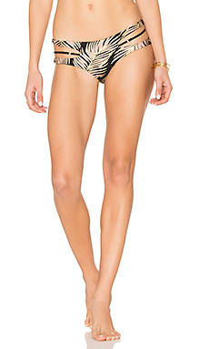 Basic Reversible Cut Out Skimpy Bikini Bottom in Black Palm Print