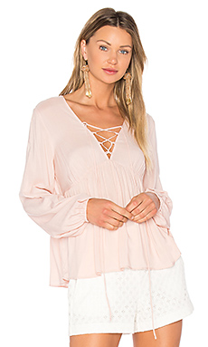 Lace Up Blouse in Rose Smoke