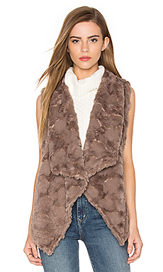 Repeat Faux Fur Vest in Taupe