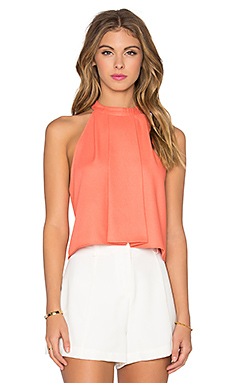 High Neck Crop Tank in Coral