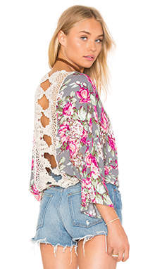 Lace Back Top en Imprimé Gris Floral