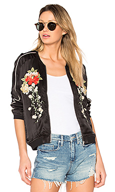 Embroidered Bomber Jacket in Own The Night