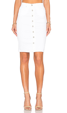 Button Front Pencil Skirt in White Broney