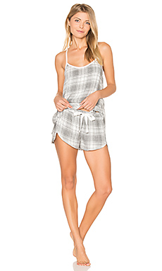 Oxford Plaid Cami & Short Set en Gris Chiné