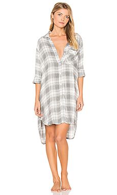 Oxford Plaid Sleep Shirt en Gris Chiné