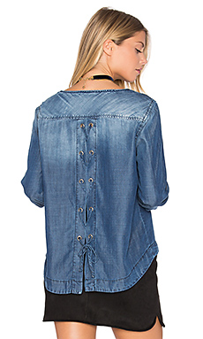 Lace Back Top in Windor Wash