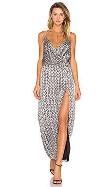 Snake Print Side Slit Dress in Black