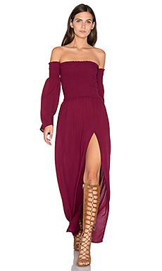 Off Shoulder Maxi Dress in Plum