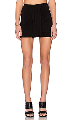 Side Drape Mini Skirt in Black