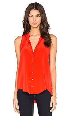 Pleat Back Button Up Tank in Flame Red