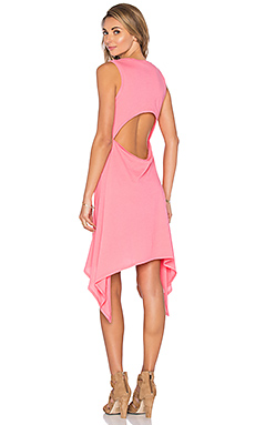 Lightweight Jersey Cut Out Asymmetrical Dress in Juicy Pink