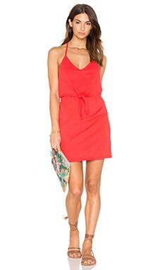 Supreme Jersey Tied Waist V Neck Dress in Retro Red