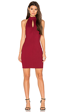 BLACK Cut Out Bodycon Dress in Dark Red