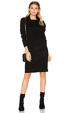 Cashmere Cowl Neck Sweater Dress en Noir