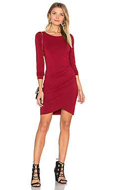 Jersey Ruched Dress in Cranberry