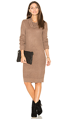 Cashmere Cowl Neck Sweater Dress en Java