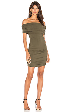 BLACK Off Shoulder Mini Dress in Army