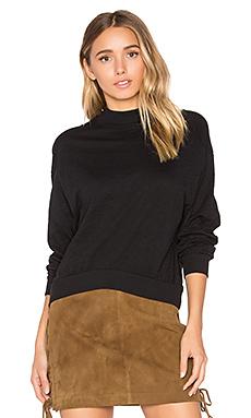 Slub Jersey Crop Sweatshirt in Black