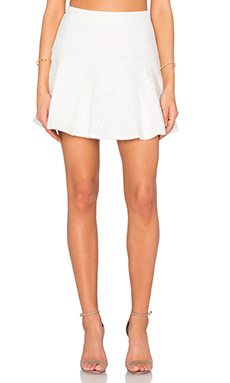 BLACK Mixed Chiffon Lace Skirt in White