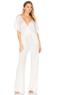 BLACK Luxe Jersey Drape Front Jumpsuit – 白色