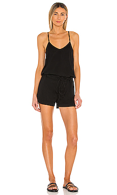 Supreme Jersey Tie Front V Neck Romper in Black
