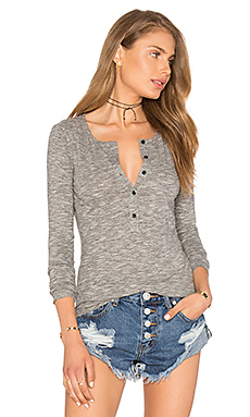 Mini Striped Jersey Long Sleeve Half Button Top en Noir