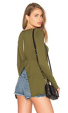 Light Weight Jersey Open Back Long Sleeve Top in Chartreuse