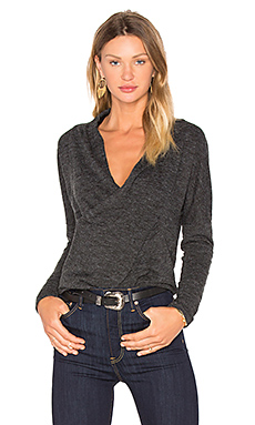Fine Woolen Jersey Cross Front Long Sleeve Top in Black
